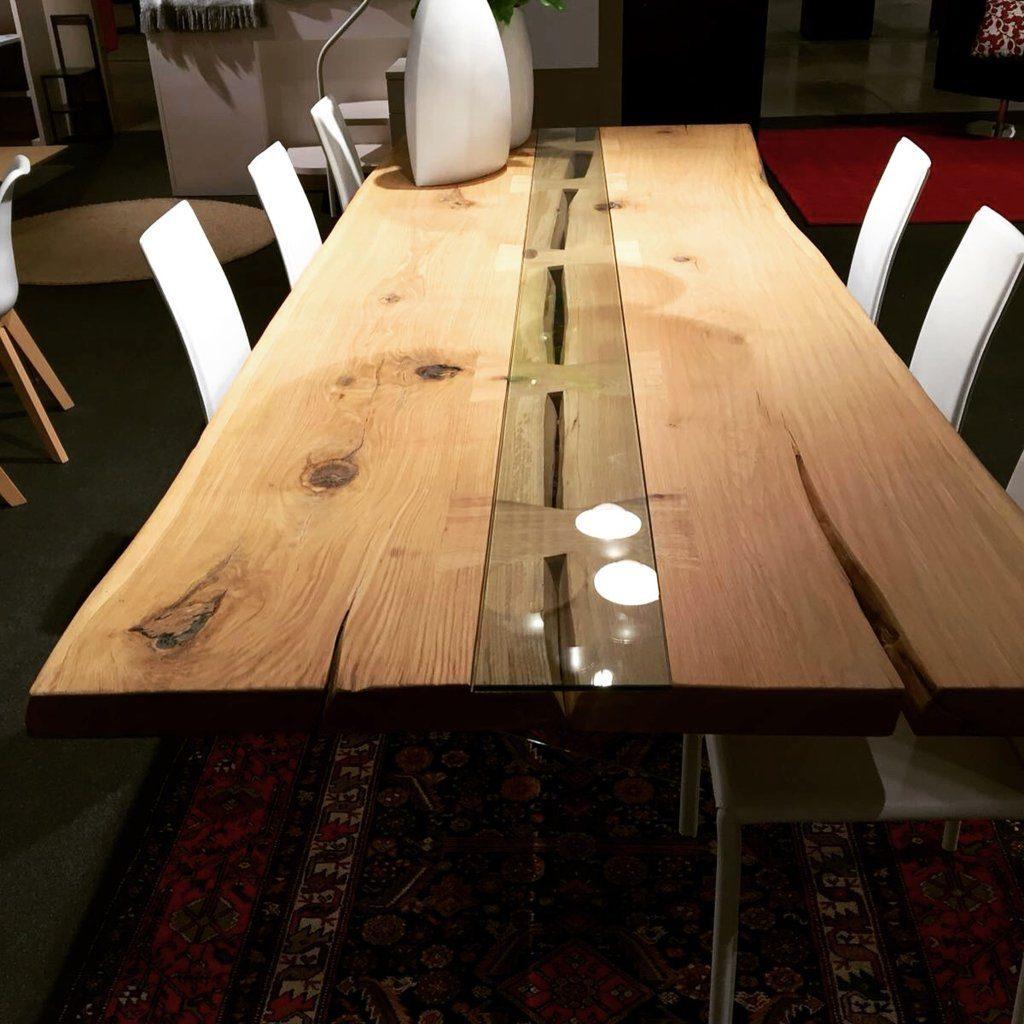 Tavoli Con Tronchi Di Legno.Tavolo Legno Gambe In Vetro Design Massimo Caretta Caretta Design