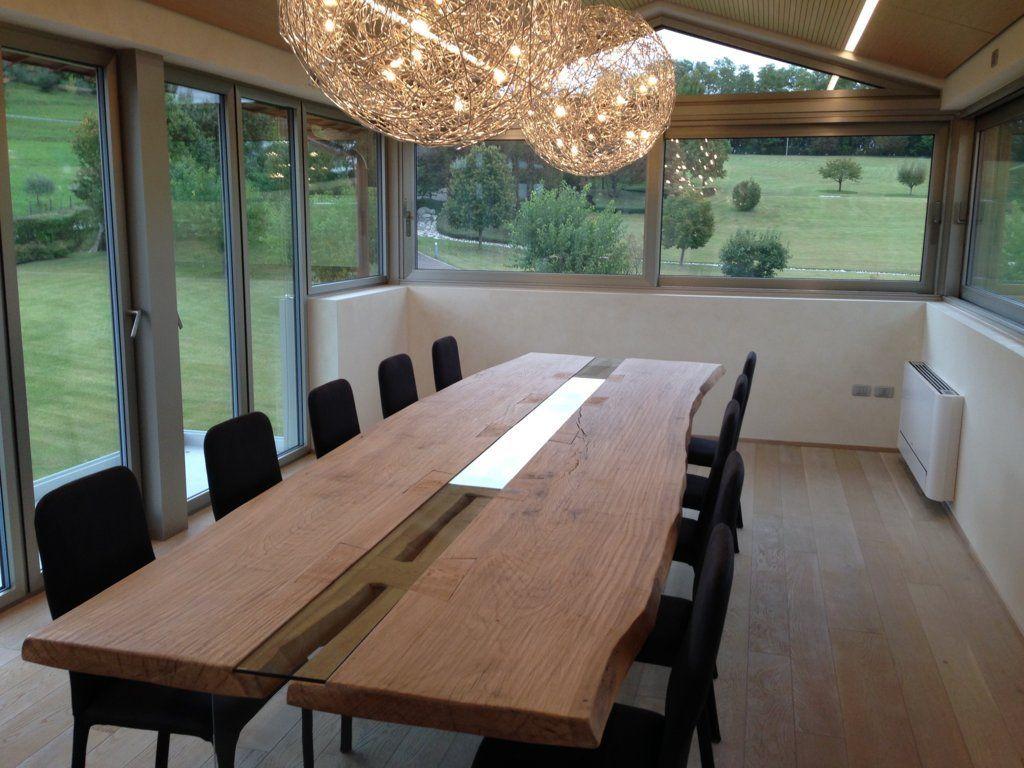 Tavolo legno vetro grandi dimensioni - Caretta Design