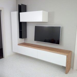 Mobile porta tv sospeso in legno con frontali laccati caretta design - Porta tv sospeso ...