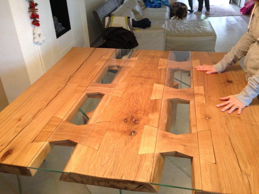 Tavolo quadrato legno e vetro- design Massimo Caretta - Caretta Design