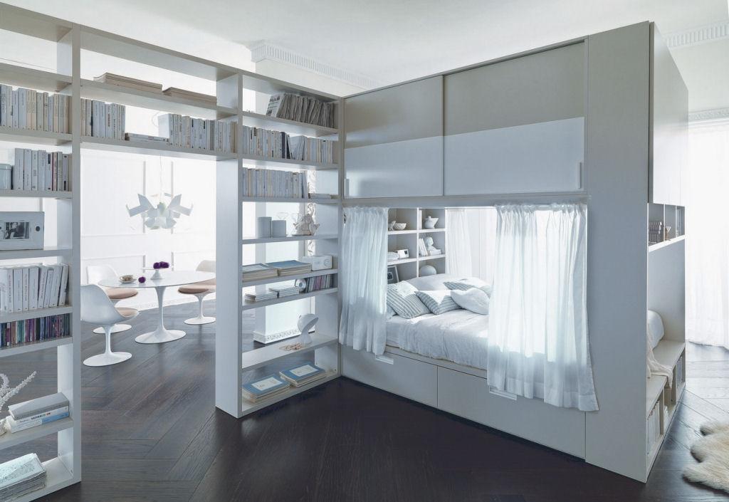 Letto container con cabina armadio sopra letto - Caretta Design