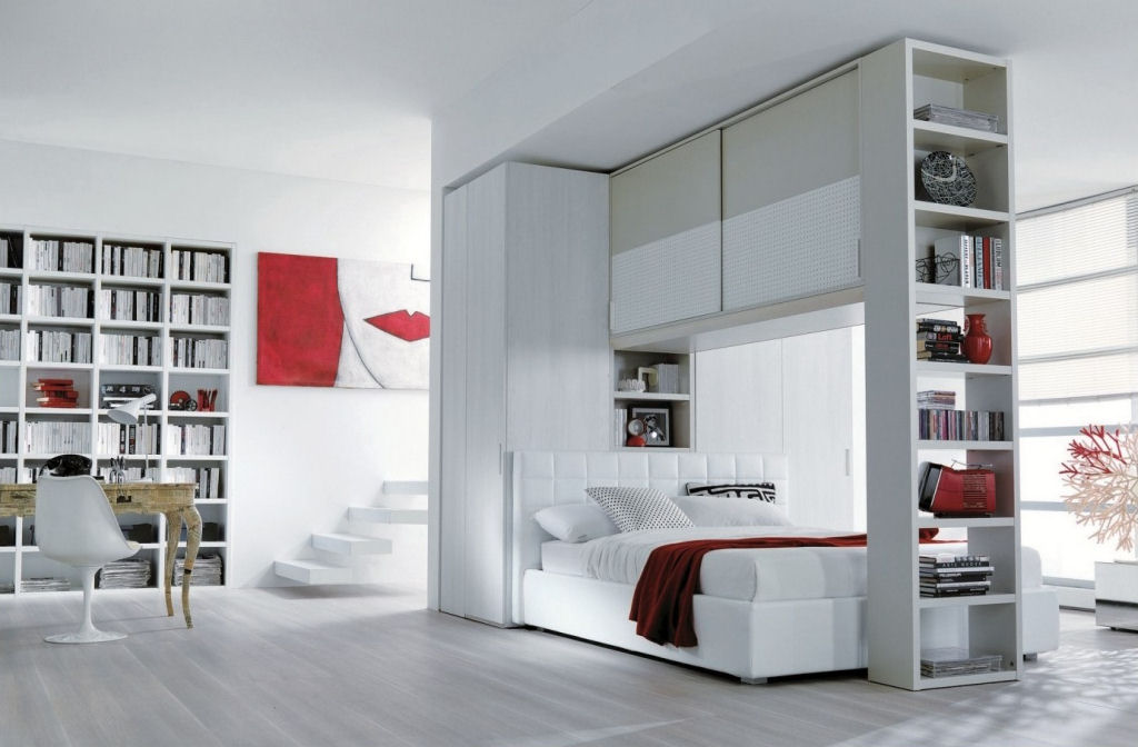 Letto con armadio a ponte e libreria caretta design - Armadio a ponte senza letto ...