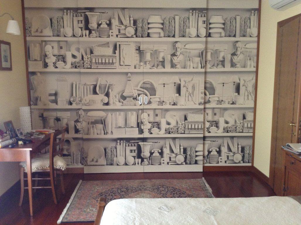 Carta Da Parati Per Ante Armadio.Carta Da Parati Libreria Caretta Design