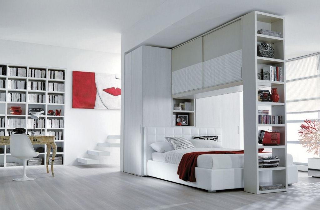 Letto con armadio a ponte e libreria - Caretta Design